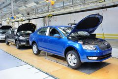 Skoda Octavia on conveyor line in factory Stock Photography