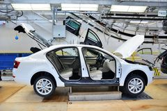 Skoda Octavia on conveyor line in factory Royalty Free Stock Image