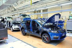 Skoda Octavia on conveyor line in factory Stock Images