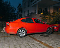 Skoda Octavia parked newar hose at night Royalty Free Stock Image