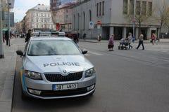 Skoda Octavia Police Car Parked in Prague Stock Photos
