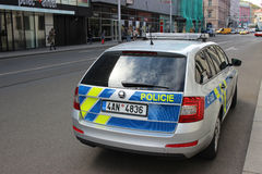Skoda Octavia Police Car Parked in Prague Royalty Free Stock Images