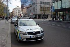Skoda Octavia Police Cars Parked in Prague Stock Image