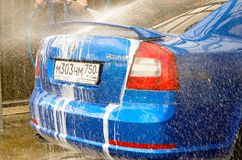 Skoda octavia rs blue car bubble shavers Royalty Free Stock Images