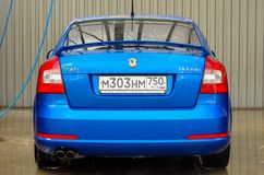 Skoda octavia rs blue car buble beak Royalty Free Stock Photos