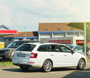 Skoda Octavia wagon car driving toward car wash Royalty Free Stock Photo