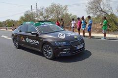 A Skoda Officials Car In La Vuelta España Bike Race Stock Photography