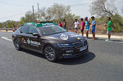 A Skoda Officials Car In La Vuelta España Bike Race Stock Photography