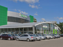 Skoda-Praha van de handels autosalon Auto in Kiev, de Oekraïne Stock Foto