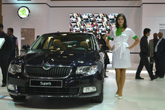 SKODA Superb. At Qatar Motor Show Second Exhibition on the 25th of January 2012 stock photos