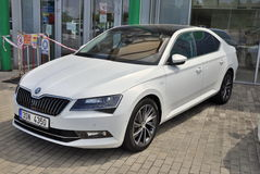Skoda Superb in front of car store Royalty Free Stock Image