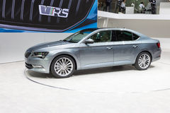 2015 Skoda Superb. Geneva, Switzerland - March 4, 2015: 2015 Skoda Superb presented on the 85th International Geneva Motor Show Royalty Free Stock Photography