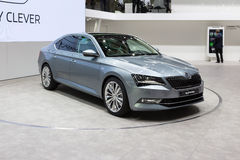 2015 Skoda Superb. Geneva, Switzerland - March 4, 2015: 2015 Skoda Superb presented on the 85th International Geneva Motor Show Stock Images