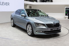 2015 Skoda Superb. Geneva, Switzerland - March 4, 2015: 2015 Skoda Superb presented on the 85th International Geneva Motor Show Royalty Free Stock Images