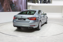 2015 Skoda Superb. Geneva, Switzerland - March 4, 2015: 2015 Skoda Superb presented on the 85th International Geneva Motor Show Royalty Free Stock Image