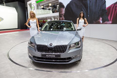 2015 Skoda Superb. Geneva, Switzerland - March 4, 2015: 2015 Skoda Superb presented on the 85th International Geneva Motor Show Royalty Free Stock Photos
