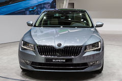 2015 Skoda Superb. Geneva, Switzerland - March 4, 2015: 2015 Skoda Superb presented on the 85th International Geneva Motor Show Stock Photos