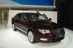 Skoda SuperB V6. World premiere. Moscow International Automobile Salon' 2008 will take place August 27 through September 7, 2008 in Moscow. For the first time Stock Photos