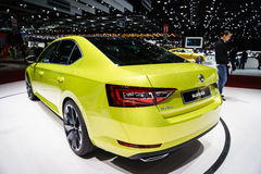 Skoda superbe, Salon de l'Automobile Geneve 2015 Photos libres de droits