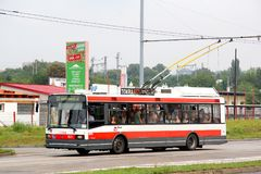 Skoda 21Tr. Brno, Czech Republic - July 22, 2014: Trolleybus Skoda 21Tr in the city street Royalty Free Stock Photo