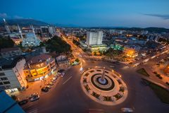 Skoder City skyline aerial view Albania. At sunset stock photo