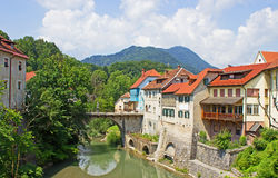 Skofja Loka old houses by the river Stock Image