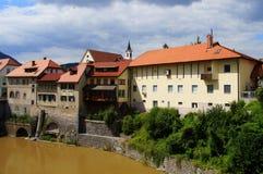 Skofja Loka, Slovenia. August 7, 2017: Banks of river Sora in stock image