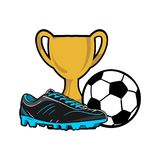 Skofotboll med trofé- och bollillustrationvektorn royaltyfri illustrationer