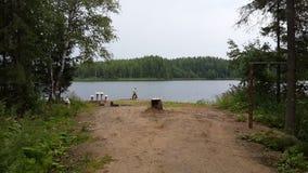 skog för natur för vatten för sjövillebrådbro arkivfoto