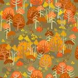 Skog i den nästan nakna hösten Fotografering för Bildbyråer