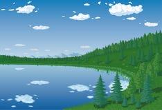 Skog lake vektor illustrationer