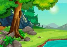 Skog med en flodbakgrund stock illustrationer