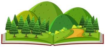 Skog och berg i boken vektor illustrationer