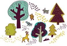 Skog- och djurisolaten på den vita naturen planlägger beståndsdelar Royaltyfri Bild