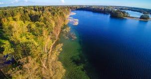 Skog- och sjölandskap, antenn royaltyfria bilder