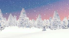 Skog och snöfall för vinter prydlig på gryning royaltyfri illustrationer