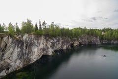 Skog på stenarna över sjövattnet royaltyfri bild