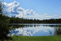 Skog sjö med reflexion av moln i vatten royaltyfri foto