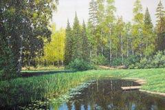 Skog smal sjölandskap Fotografering för Bildbyråer