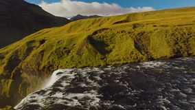 Skoga river view before waterfall Skogafoss, panorama in sunny summer day stock video