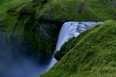 Skogafoss瀑布从上面,冰岛 库存照片