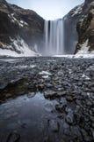 Skogafoss在冬天在冰岛 免版税库存照片