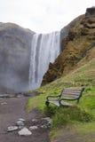 Skogafoss瀑布,南冰岛 图库摄影