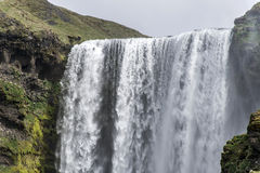 Skogafoss beautiful waterfall green Iceland Royalty Free Stock Photography