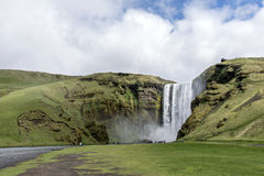 Skogafoss beautiful waterfall green Iceland Stock Photos