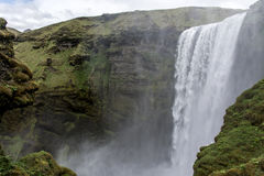 Skogafoss beautiful waterfall green Iceland Stock Photography