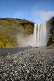 Skogafoss bonito Paisagem surpreendente no por do sol na cachoeira a mais popular em Islândia Fotografia de Stock