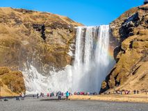 Skogafoss waterfall in winter season in Iceland