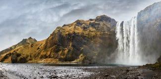Skogafoss panorama Arkivfoto