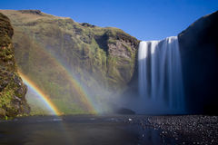 Skogafoss regnbågar Royaltyfri Fotografi